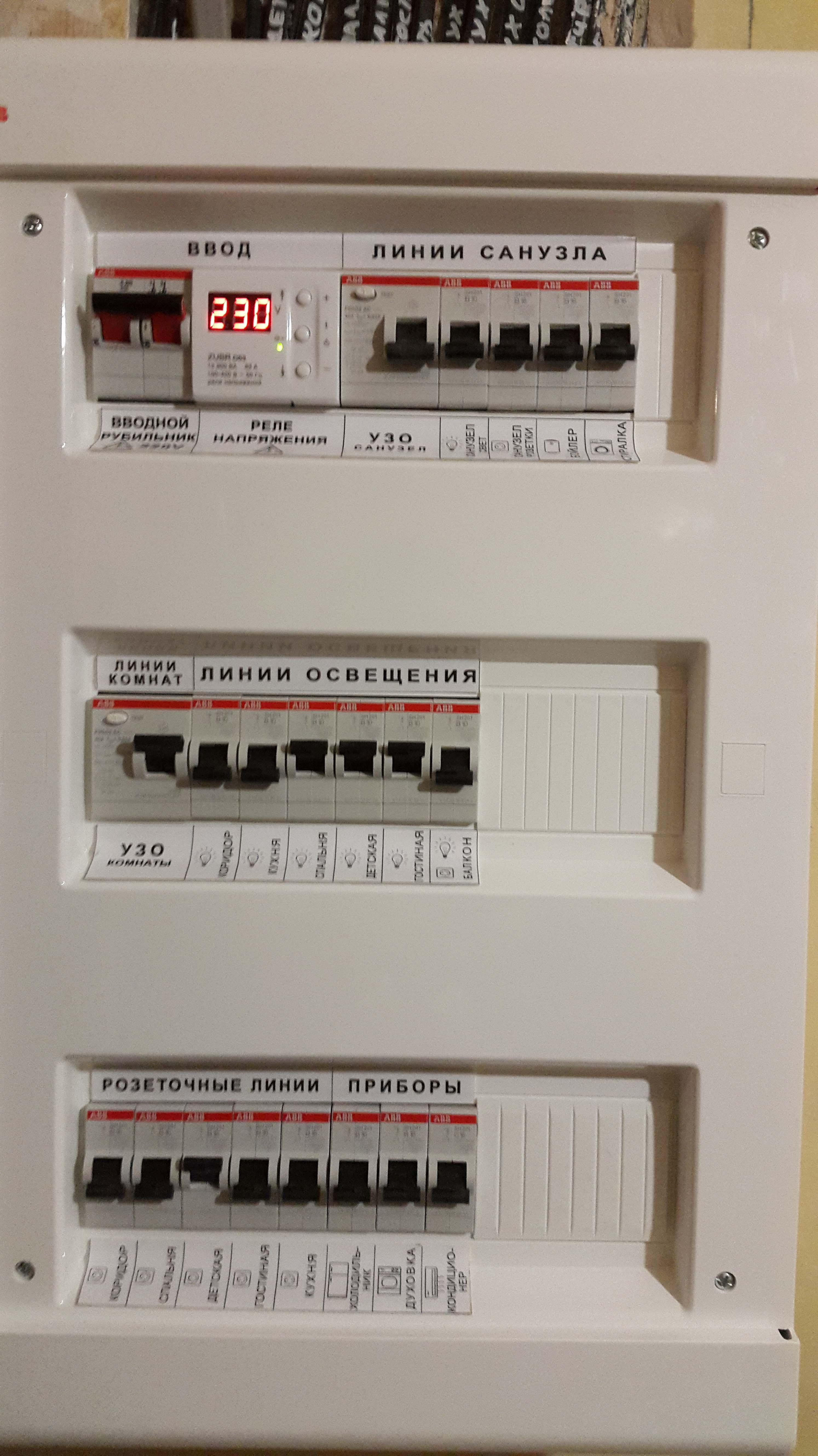 квартирный электрощиток - автоматы